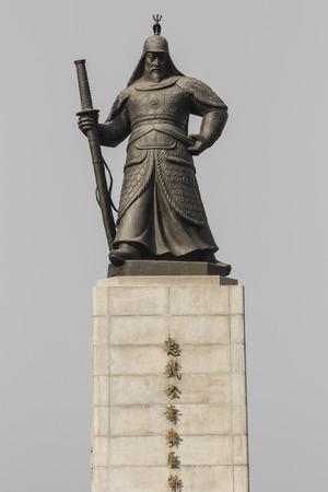 Statue of Admiral Yi Sunsin on Gwanghwamun plaza in Seoul, South Korea.