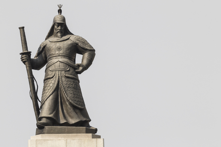 Statue of Admiral Yi Sunsin on Gwanghwamun plaza in Seoul, South Korea.