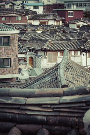korean style house: Bukchon Hanok Village is one of the famous place for Korean traditional houses in Seoul, South Korea. Stock Photo
