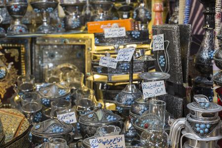 iranian: ISFAHAN, IRAN - OCTOBER 06, 2016: Traditional iranian market (Bazaar) metal souvenires, lamps.