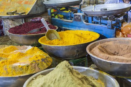 suq: Colorful spices on the bazaar. Iran. Isfahan. Stock Photo