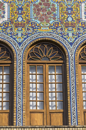 TEHRAN, IRAN - OCTOBER 05, 2016: Exteriors of Golestan palace and old mosaic paintings in Teheran, Iran. Editorial
