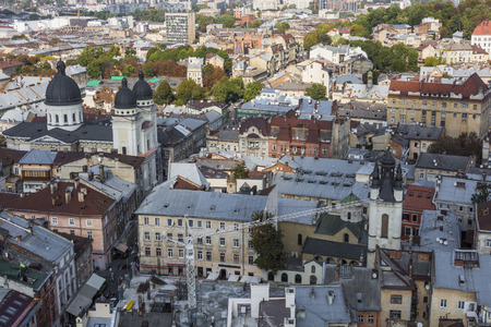 old town guildhall: LVIV, UKRAINE - OCTOBER 02, 2016: Lviv City from above. Central part of the old city of Lvov. Ukraine Editorial