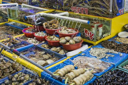 trawl: SEOUL - OCTOBER 23, 2016: Vendors selling fish at Garak Market in Seoul, South Korea