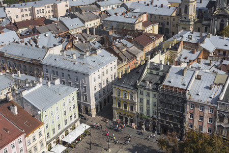 lvov: LVIV, UKRAINE - OCTOBER 02, 2016: Lviv City from above. Central part of the old city of Lvov. Ukraine Editorial