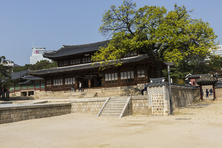 korean style house: SEOUL - OCTOBER 21, 2016: Deoksugung Palace in Seoul, South Korea. It is also known as Gyeongun-gung, or Deoksu Palace Editorial