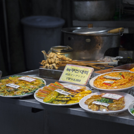 side dishes: Korean side dishes at local market in Seoul, South Korea.