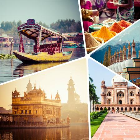 kamasutra: Collage of India images - travel background (my photos)   Stock Photo