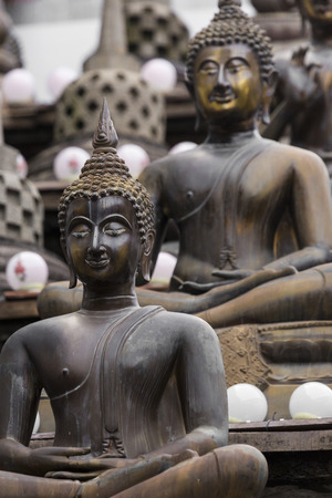 colombo: Row of Buddha statues at Ganagarama temple, Colombo, Sri Lanka