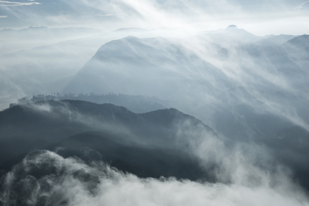 pada: Landscape. Sunrise on the mountain Adams Peak. Sri Lanka.