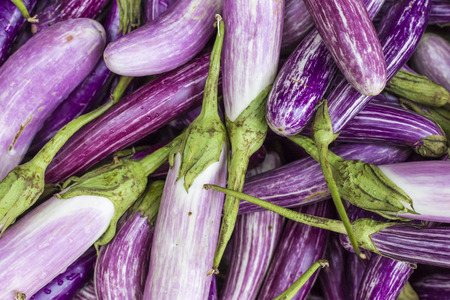 nightshade: Closeup of Eggplants on vegetable market in Kandy, Sri Lanka.