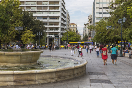 syntagma: ATHENS - GREECE - SEPTEMBER 21,2016 : View of Syntagma square in Athens with crowd.