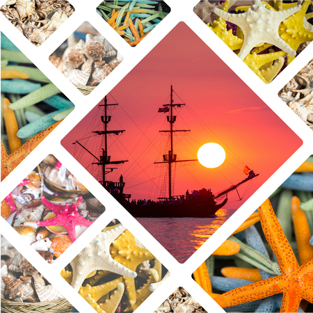 sensations: Collage of Caribbean sensations.  Stock Photo