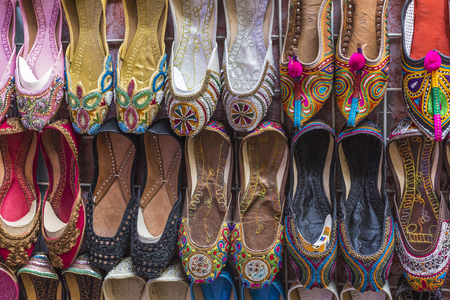 Shoes in arabian style, market of Dubai