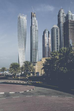 DUBAI, UAE - JANUARY 18, 2017 : Dubai Marina at sunrise, United Arab Emirates.