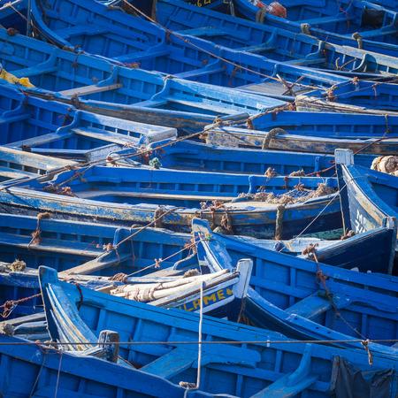 Blue fishing boats in Essaouira, Morocco, Africa