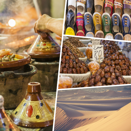 market place: Collage of typical places in Morocco - my photos Stock Photo