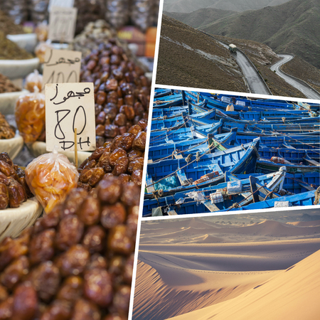 Collage of typical places in Morocco - my photos Stock Photo