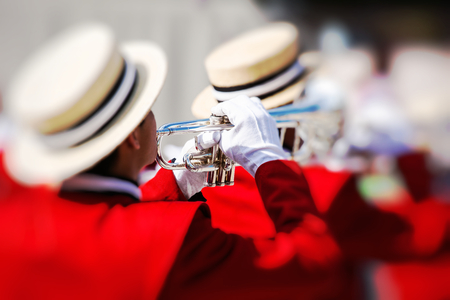 pasadena: Brass Band in red uniform performing