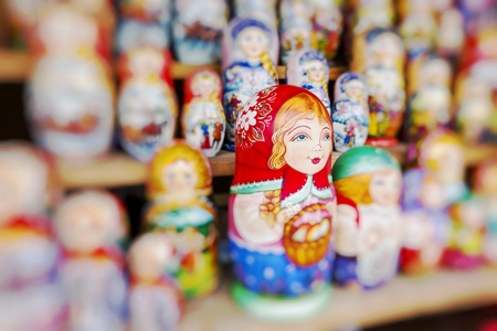 matroshka: Very large selection of matryoshkas Russian souvenirs at the gift shop on June 04, 2014 in Moscow. Nesting dolls are the most popular souvenirs from Russia