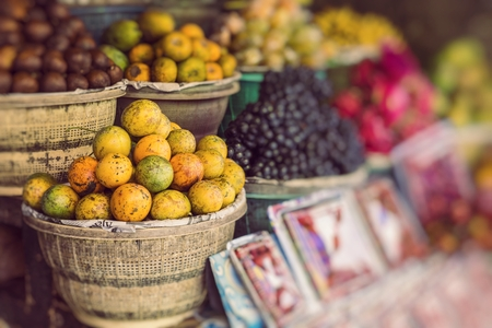 Open air fruit market in the village in Bali, Indonesia. Stock Photo