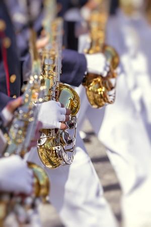 pasadena: Brass Band in uniform performing