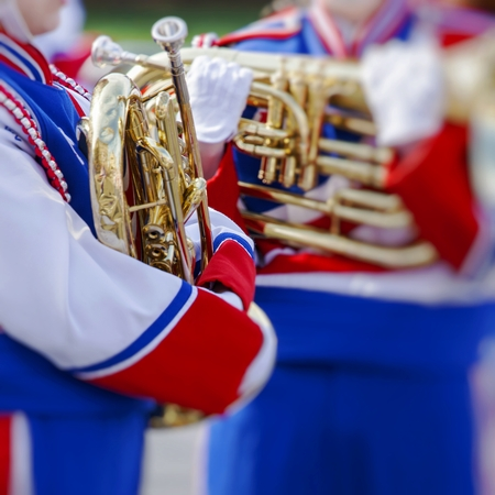 pasadena: Brass Band in uniform performing Stock Photo