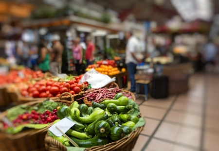 anona: FUNCHAL, PORTUGAL - JUNE 25: Fresh exotic fruits in Mercado Dos Lavradores.on June 25, 2015 in Madeira Island, Portugal.    Stock Photo