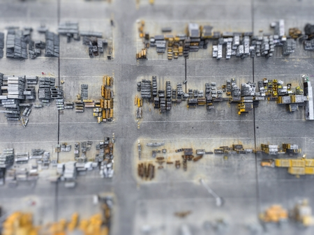 merchandise: Industrial storage place, view from above. Stock Photo