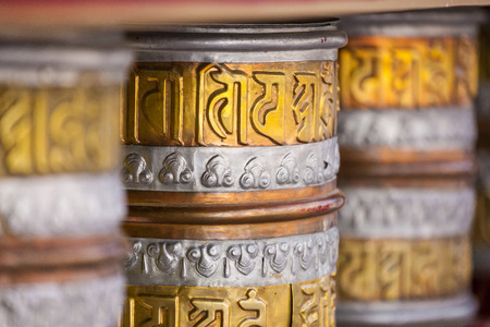 Buddhist prayer wheels in Leh, India.