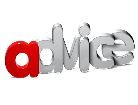 3D Word Advice over white background.