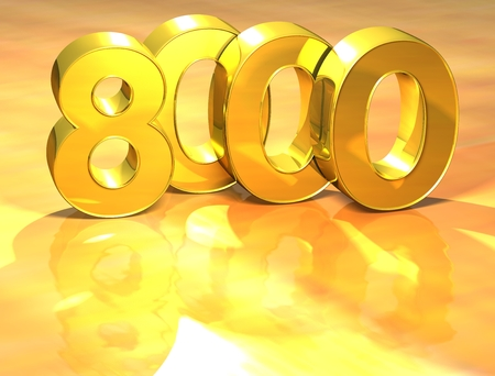 3D Gold Ranking Number 8000 on white background. Stock Photo