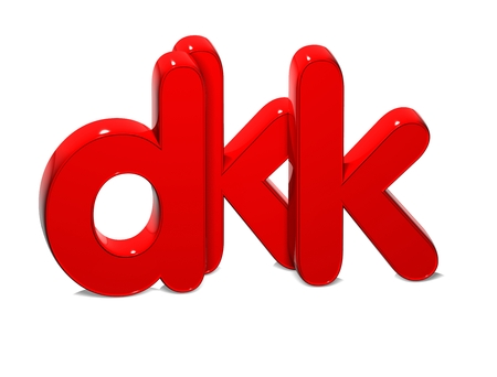 rub: 3D Currency DKK over white background.