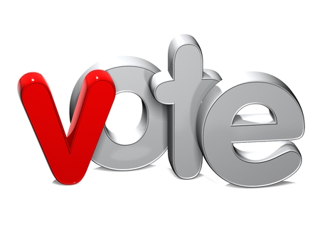 3D Word Vote over white background.