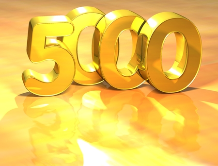 3D Gold Ranking Number 5000 on white background.