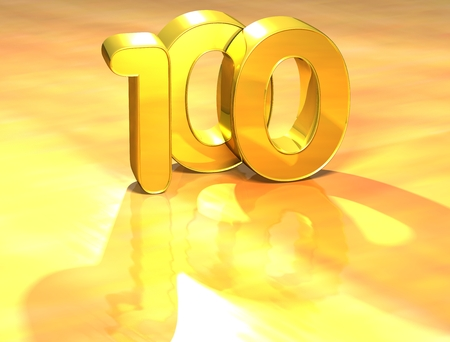 3D Gold Ranking Number 100 on white background.