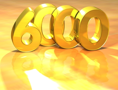 3D Gold Ranking Number 6000 on white background.
