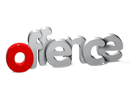 unlawful act: 3D Word Offence over white background. Stock Photo