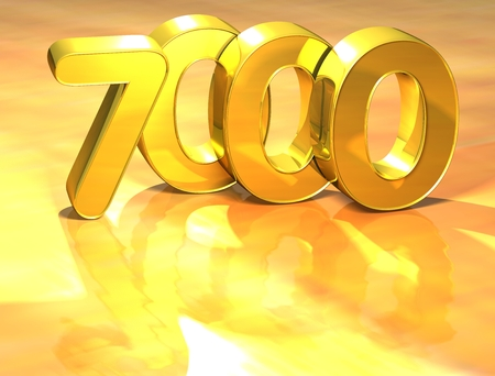 3D Gold Ranking Number 7000 on white background.
