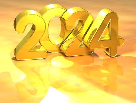 newyear: 3D Gold New Year 2024 on white background Stock Photo