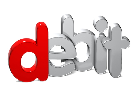 3D Word Debit over white background. Stock Photo