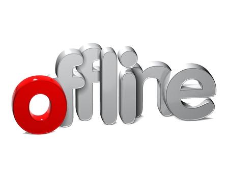 3D Word Offline over white background.