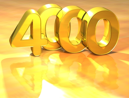 3D Gold Ranking Number 4000 on white background. Stock Photo