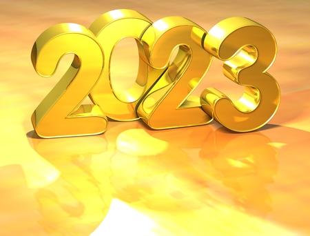 newyear: 3D Gold New Year 2023 on white background