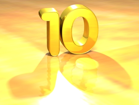 3D Gold Ranking Number 10 on white background.