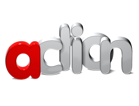 3D Word Action over white background.