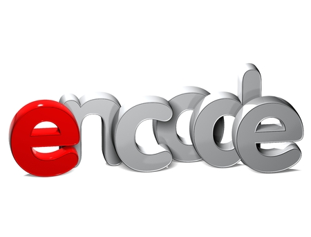 3D Word Encode over white background. Stock Photo