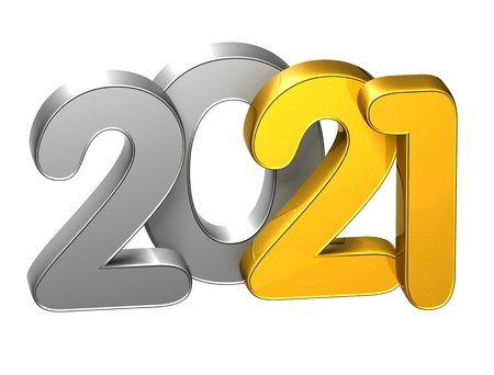 3D Gold Number New Year 2021 on white background Stock fotó
