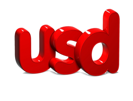 rub: 3D Currency USD over white background. Stock Photo