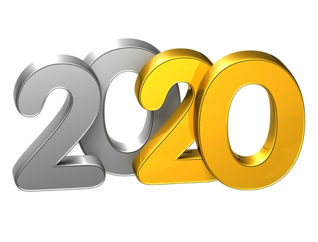 3D Gold Number New Year 2020 on white background